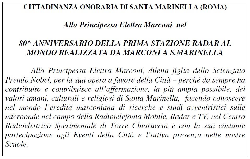 Cittadinanza onoraria Santa Marinella a Elettra Marconi